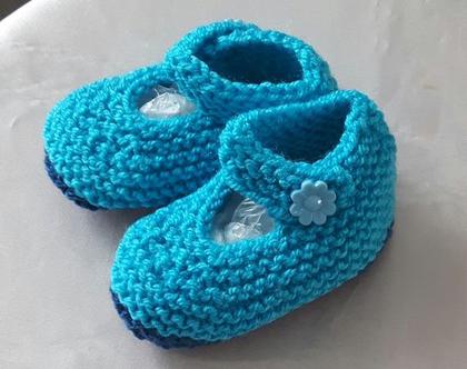 נעלי בובה סרוגות לתינוקות בגיל 6-18 חודשים, צבע טורקיז