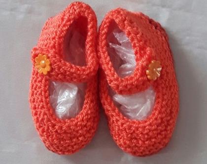 נעלי בובה סרוגות לתינוקות בגיל 6-18 חודשים, צבע כתום