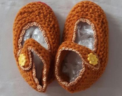 נעלי בובה סרוגות לתינוקות בגיל 6-18 חודשים בצבע חום-חרדל