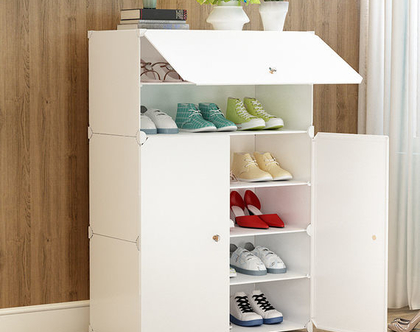 יחידת אחסון מודולרית לבנה לנעליים, ביגוד,צעצועים ופריטים נוספים המשלבת תאי אחסון גדולים,עשוי PVC ומסגרת פלדה