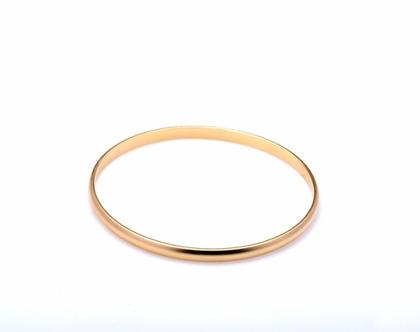 צמיד חישוק עדין צמיד מרוקאי קטן עגול צבע זהב סטן