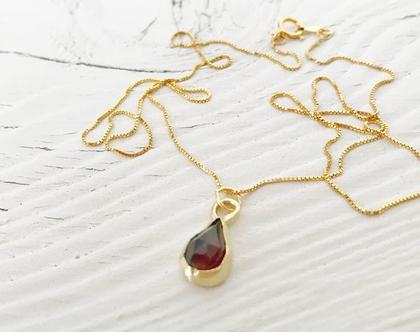שרשרת טיפת זהב   אבן גרנט עטופה בזהב 14 קראט   שרשרת עדינה   שרשרת בעבודת יד
