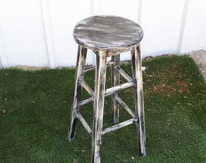 כיסא בר גבוהה מעוצב ומחודש - כיסא עץ מחודש - בסגנון וינט'ג - צבע שחור ואפור
