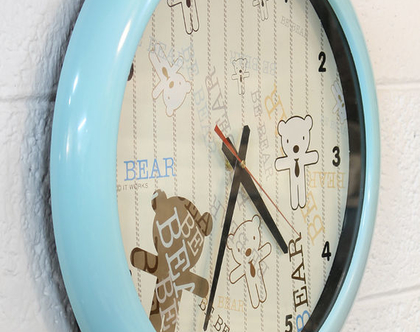 שעון קיר גדול, שעון קיר טורקיז, שעון לחדר תינוק, שעון לחדר ילדים