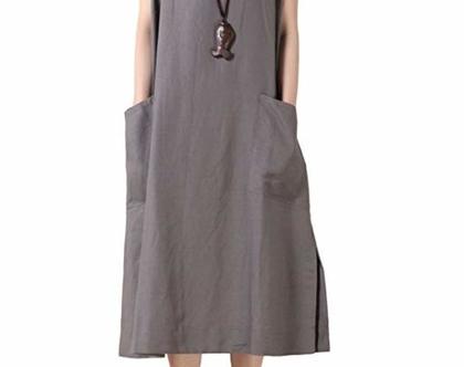 שמלת כיסים אפורה