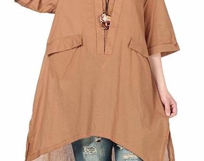 שמלת טוניקה בגוון קאמל