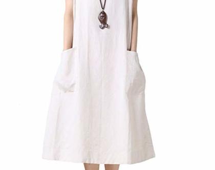 שמלת קיץ לבנה כיסים