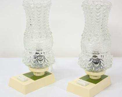 זוג מנורות לילה וינטאג׳ עם בסיס ירוק