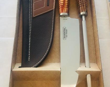 """סט סכין נרתיק עור ומשחיז טרמונטינה ברזיל 21 ס""""מ"""