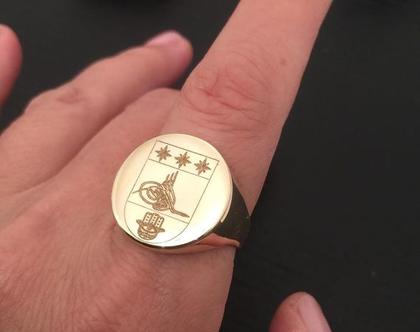 טבעת חותם זהב 14 קראט עם חריטה - טבעות שם - טבעת לאישה זהב עם חריטה - מתנה לאישה - תכשיט זהב
