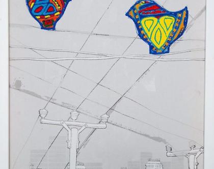 רקמה אתיופית בעבודת יד. ציפורים בשילוב נוף עירוני. אומנות אתיופית ייחודית.
