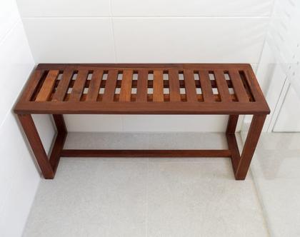 ספסל מקלחון מלבנינה טיק מעץ טיק בורמזי | ספסל למקלחת | ספסל עמיד במים | ספסל לחצר | ספסל לגינה | ספסל חוץ
