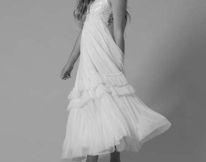 שמלת בת מצווה עם תחרה בצבע שמנת.בובל'ה שמלות. שמלת טול. שמלת תחרה. שמלת מקסי.