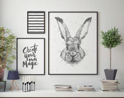 ״הקסם שלך״ | פוסטר השראה | פוסטר לחדרי ילדים | פוסטר אווירה | עיצוב מתוחכם | פוסטר מונוכרום | עיצוב הבית | ארנב