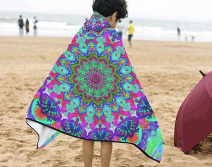 """מגבת חלוק לילדים- חוף, בריכה או אמבטיה- 124/105 ס""""מ- קפוצ'ון"""