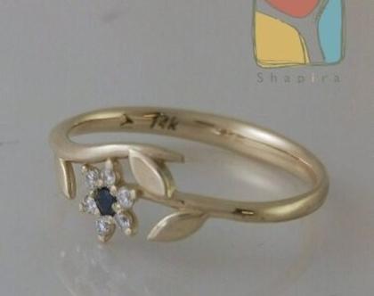טבעת מזהב צהוב בצורת פרח משובץ יהלומים בעיצוב אישי1035