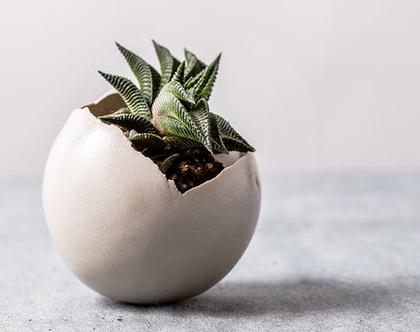 עציץ כדורי מעוצב קטן מקרמיקה בצבע לבן
