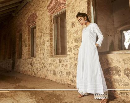 שמלת כותנה לבנה   דגם ג'נה   סט שמלה ומכנסיים
