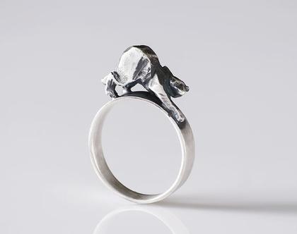 טבעת עם חתול, כסף 925, כסף מושחר