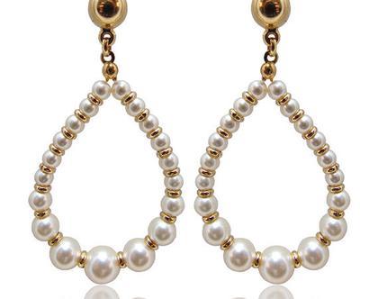 עגילי פנינים לכלה , תכשיטים לחתונה , תכשיטי פנינים , תכשיטים מעוצבים