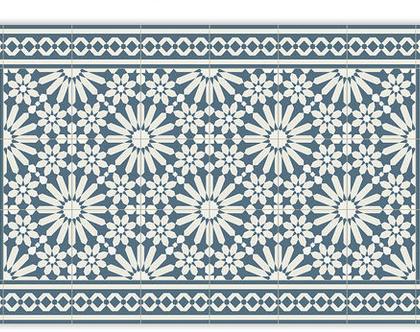 שטיח פי.וי.סי. דגם טנג'יר כחול