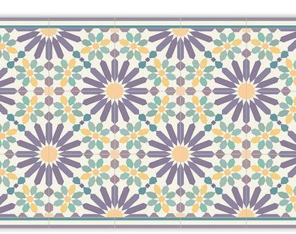 שטיח פי.וי.סי. דגם מרקש סגול וצהוב