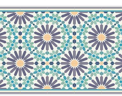 שטיח פי.וי.סי. דגם מרקש סגול וירוק