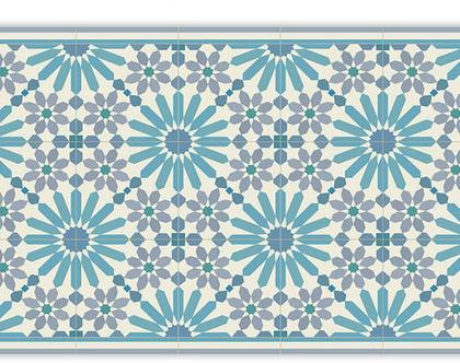 שטיח פי.וי.סי. דגם מרקש תכלת ואפור