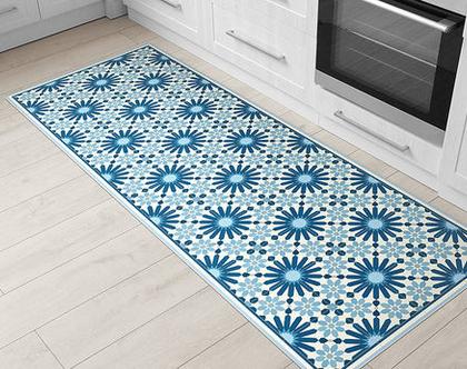 שטיח פי.וי.סי. דגם מרקש כחול כהה