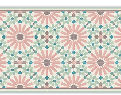 שטיח פי.וי.סי. דגם מרקש ורוד וירוק