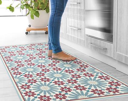 שטיח פי.וי.סי. דגם מרקש בורדו וכחול