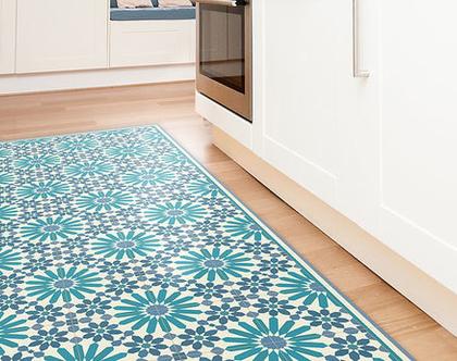 שטיח פי.וי.סי. דגם מרקש כחול וטורקיז