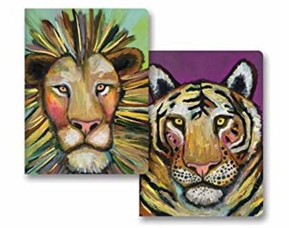 זוג מחברות גדולות אריה ונמר