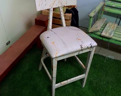 """כיסא בר """"יפני"""" מחודש ומעוצב - כיסא עץ מחודש, כיסאות, ריהוט מטבח, כיסא מעוצב"""