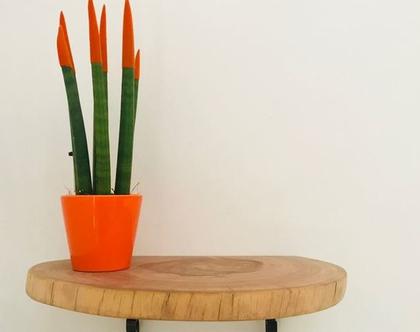 מדף דקורטיבי עשוי עץ טבעי.