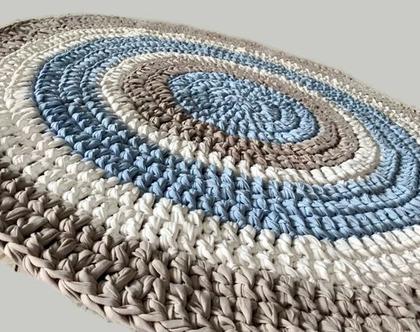 שטיח סרוג , שטיח לחדר הילדים | שטיח סרוג עגול | | שטיחים סרוגים | שטיח עגול בגווני תכלת,שטיח לחדר של בן, חדר של תינוק