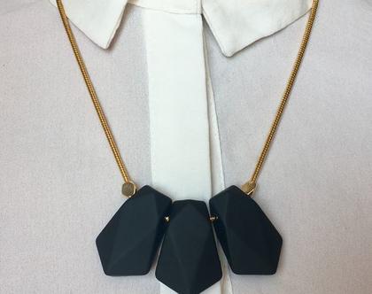 שרשרת בציפוי זהב בשילוב חרוזי סיליקון שחור