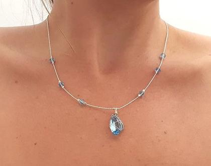 שרשרת חרוזי קריסטל- תכשיט כסף עם חרוזי קריסטל בצבע כחול