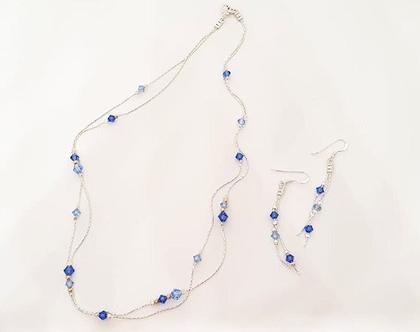 סט חרוזי קריסטל- שרשרת ועגילים מכסף וחרוזי קריסטל כחולים