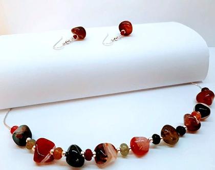 סט אבני חן אדומים- עגילים ושרשרת מכסף עם אבני חן