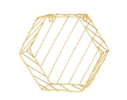 מדף נישה משושה ברזל זהב
