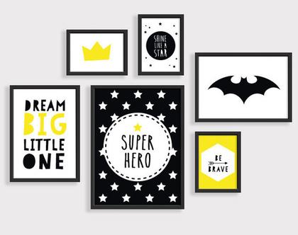 סט פוסטרים ממוסגרים גיבור על שחור צהוב | תמונות לחדרי ילדים | פוסטרים לחדרי ילדים | תמונות לחדר תינוקות | עיצוב חדר ילדים | סט תמונות לילדים