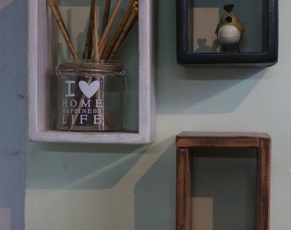 מדף בצורת מלבן מעץ איפאה ממוחזר בצבע לבן מלוכלך