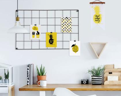 4 גלויות מעוצבות דגם טרופי צהוב