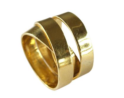 טבעת זהב 14k ייחודית סרט מלופף