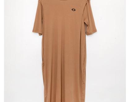 שמלת הדפס עין, שמלה שחורה, שמלה עם שרוול קצר, שמלת טישרט, שמלת קיץ