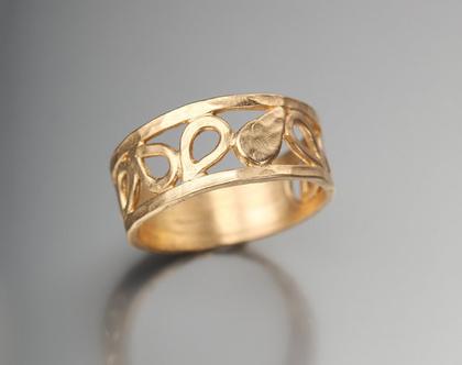 טבעת טיפות כסף מצופה זהב