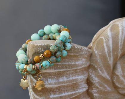 צמיד חרוזים / צמידי אבני חן טבעיות / צמיד עבודת יד / צמיד אבנים / צמיד גדילים | B-205