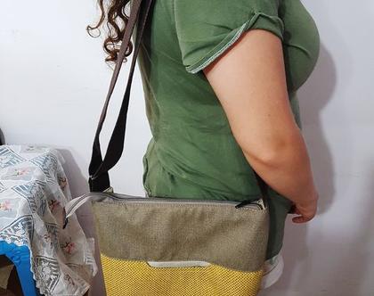 תיק בד בעל שלושה צבעים ומרקמים/ מעוצב/ עבודת יד של מעצבת/ חדש ונוח
