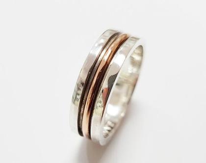 טבעת נישואין לגבר| טבעת כסף 925 ושילוב זהב 14K לגבר | טבעת לגבר